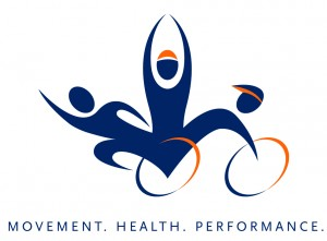 Kinesiology logo of navy and orange triathlete