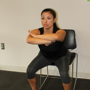 client performing body weight squat