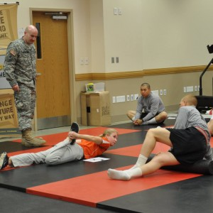 soldiers stretching
