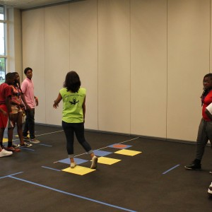 campers learning motor skill activity
