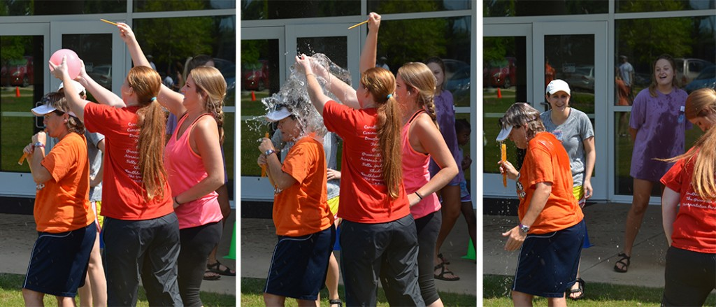 Camp Director Dr. Sheri Brock gets a surprise water balloon bath!