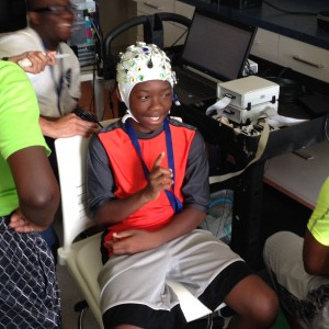 jr sports science camper wearing neural cap