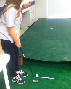 subject golf putting in lab