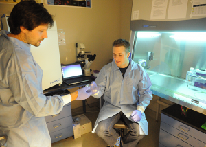 Brooks Mobley and Dr. Roberts in lab