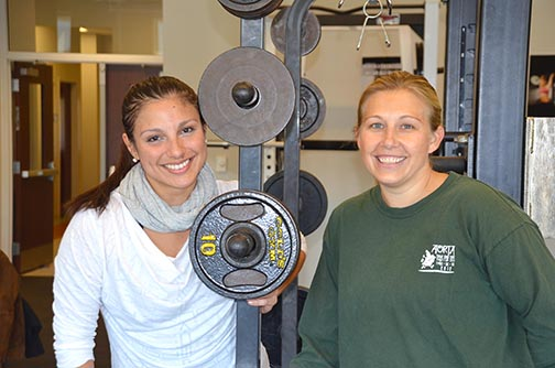 Kinesiology Ph.D student Lorena Salom (left) and Dr. Danielle Wadsworth in the lab space used for the women's exercise study.