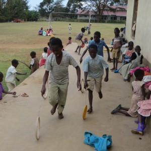 hoop race at African orphanage