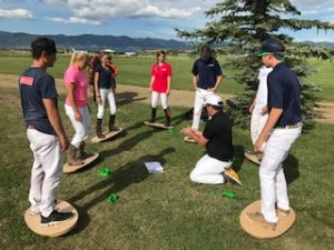 AU sports medicine lab doing exercise with polo players
