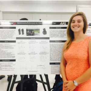 Doctoral student presenting her summer fellowship research at the Army Research Institute