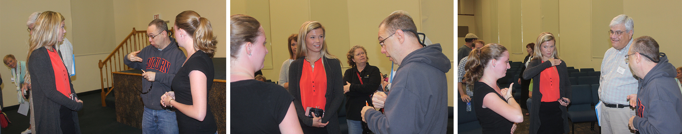 Taylor Wesley talking with consumers at a recent Alabama mental health recovery conference