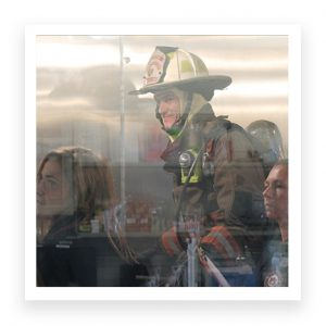 Firefighter in testing chamber
