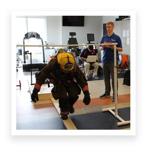 Firefighter being tested on balance