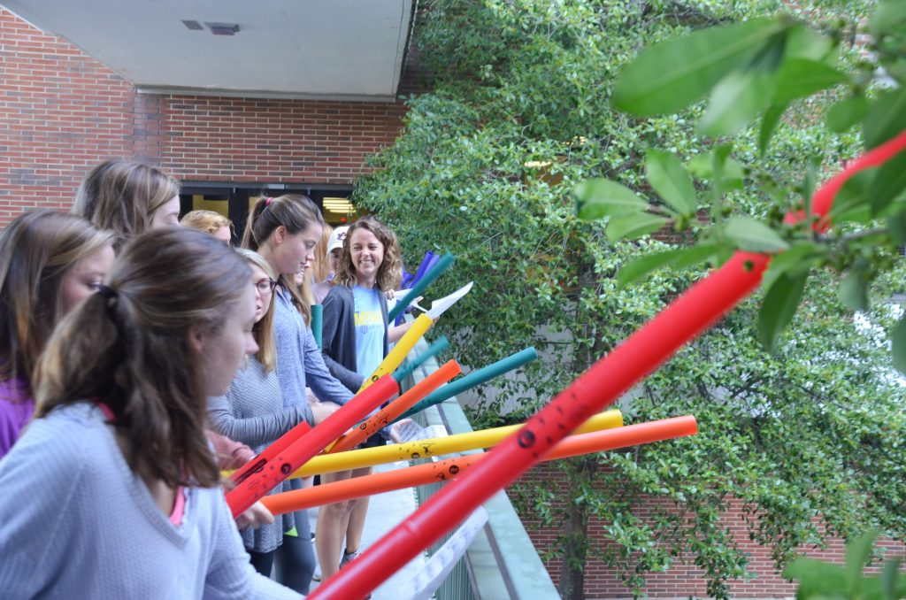 Students playing boomwhackers