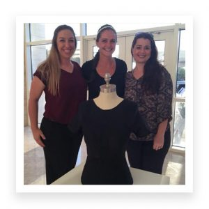 "Left is Sarah Gascon, middle is Jence Rhoads the ""fit"" model, and right is Dawn Michaelson posing with their prototype"