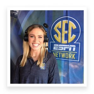 Anna Gibbs in front of SEC ESPN Network Banner