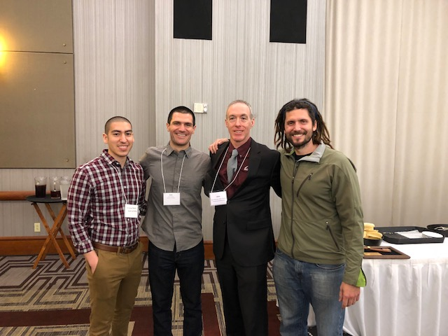 Pictured left to right at the Awards Banquet: Matt Romero (fellow Ph.D. student), Paul Roberson (winner), Dr. John Quindry (past SEACSM president and former faculty member in School of Kinesiology), and Dr. Michael Roberts (Paul's mentor).
