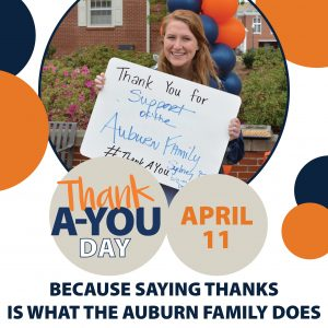 Thank A-You Day | April 11 | Because saying thanks is what the Auburn Family does