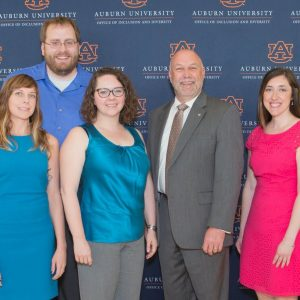 Critical Studies Working Group and Auburn University President Leath at awards ceremony