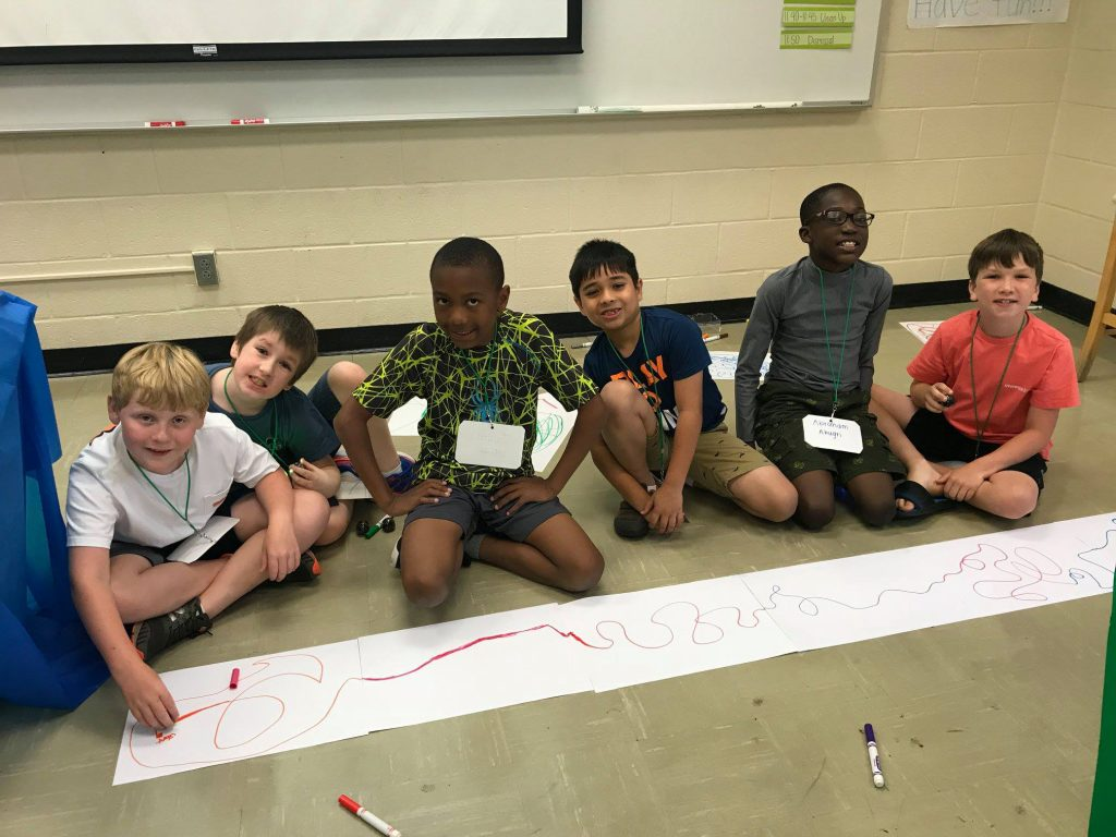 Group of STEM campers draw together