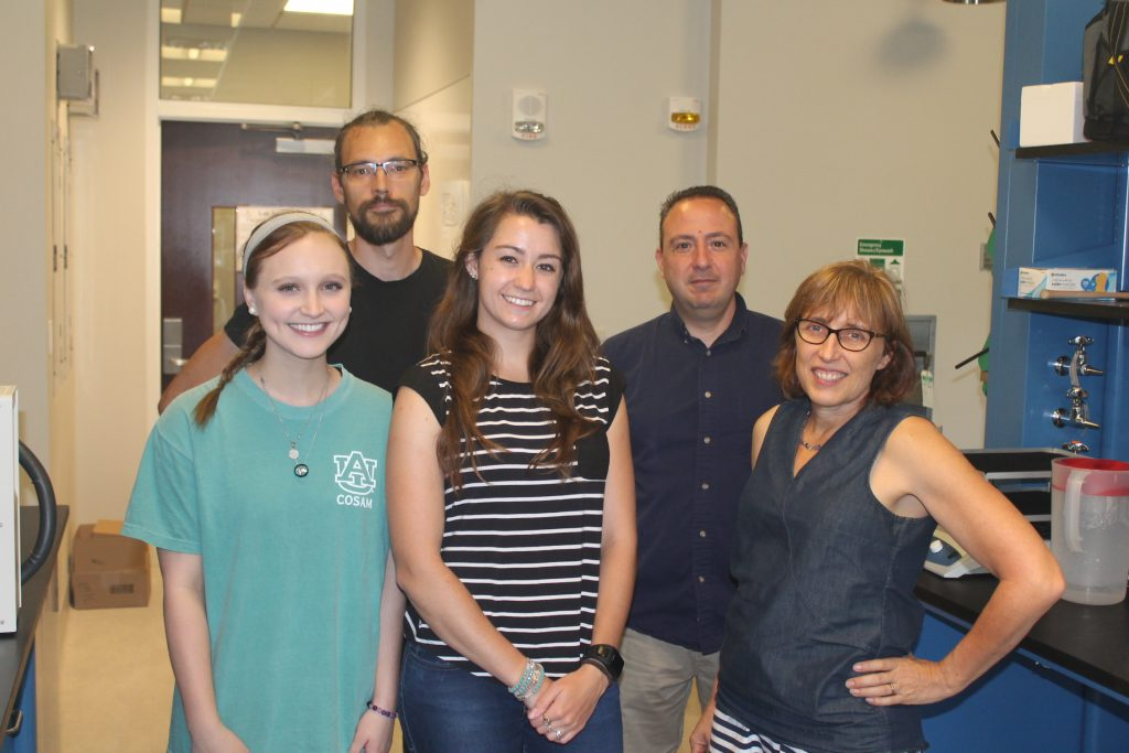 Pictured from left to right are sophomore Chemistry and Biochemistry major Ryleigh Randall, Biological Sciences post-doc Kristjan Niitepõld (Ph.D.), Kinesiology doctoral student Hailey Parry, Andreas Kavazis (Ph.D.), Associate Professor in the School of Kinesiology in the College of Education, and Wendy Hood (Ph.D.), Associate Professor in Biological Sciences.
