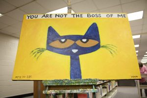 "Pete the Cat original painting | ""You are not the Boss of Me"""