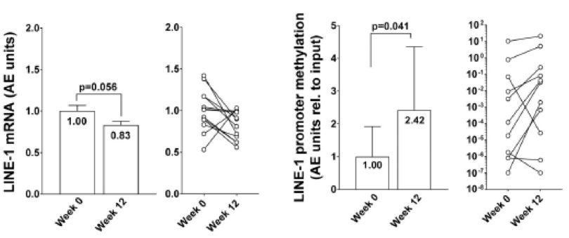 LINE-1 mRNA and promoter methylation data week 0 and week 12