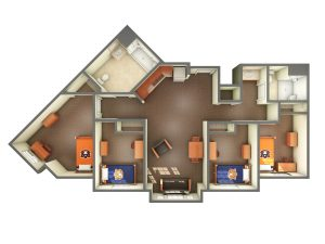 3D view of ADA accessible suite