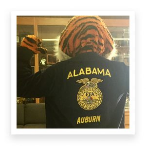 Aubie wearing an Alabama FFA jacket