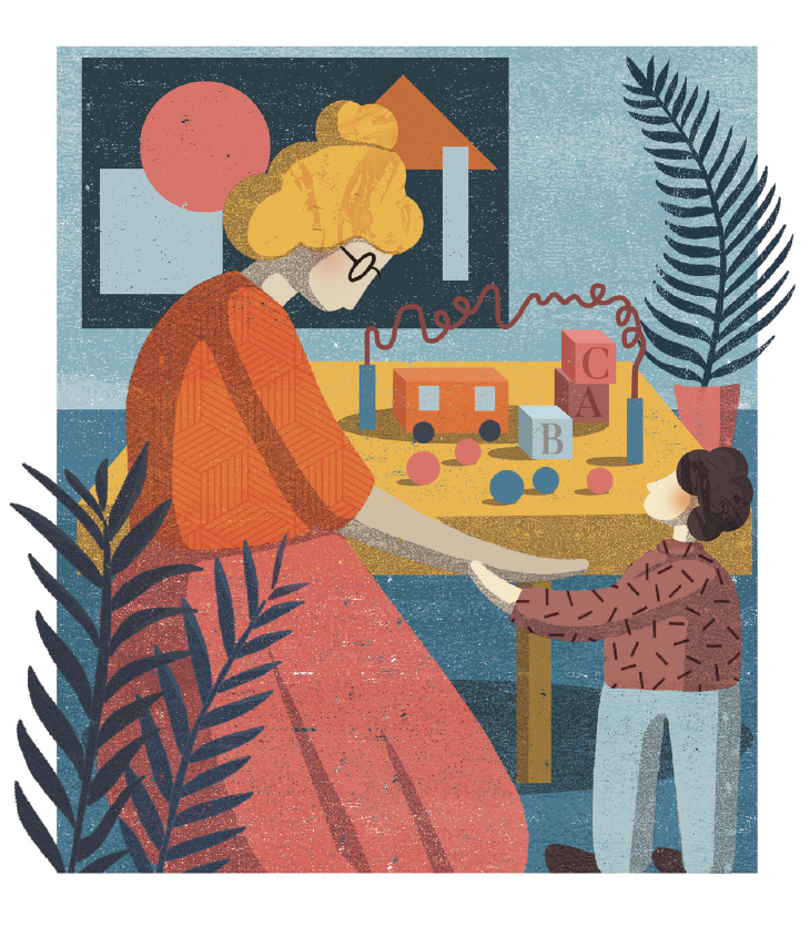 Illustration of woman with small child