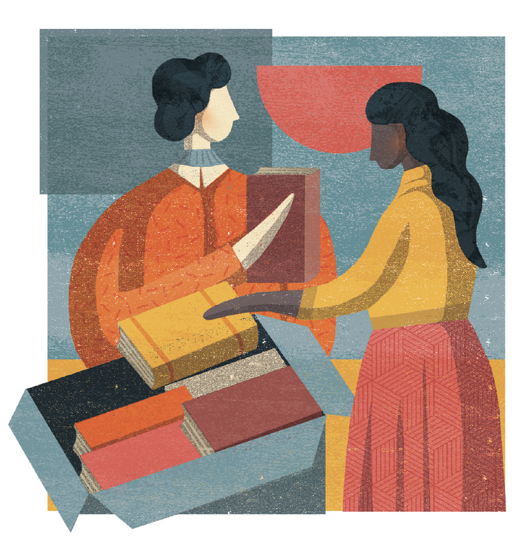 Illustration of two adults with a box of books