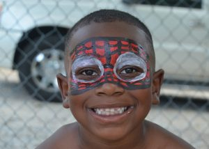 Young boy with face paint