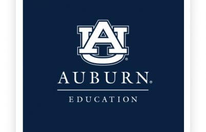 Auburn University College of Education Logo | White Logo on Navy Background
