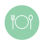 Icon representing nutrition; illustration of fork, plate, and spoon