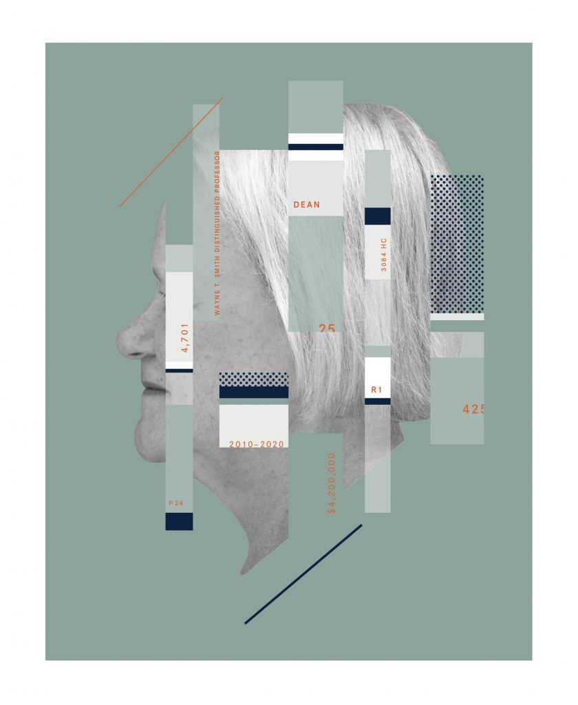 Keystone 2020 cover design: black and white side profile head shot of Dean Betty Lou Whitford with green color blocks and facts set onto
