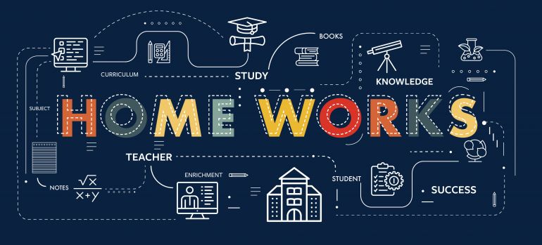 Home Works set in colorful type surrounded by school-based illustrations in white all on top of a navy background