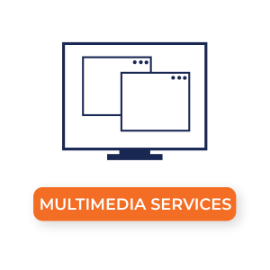 """""""Multimedia Services"""" Image of a computer with two windows open"""