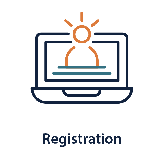 """Illustration of a person in a computer   """"Registration"""""""