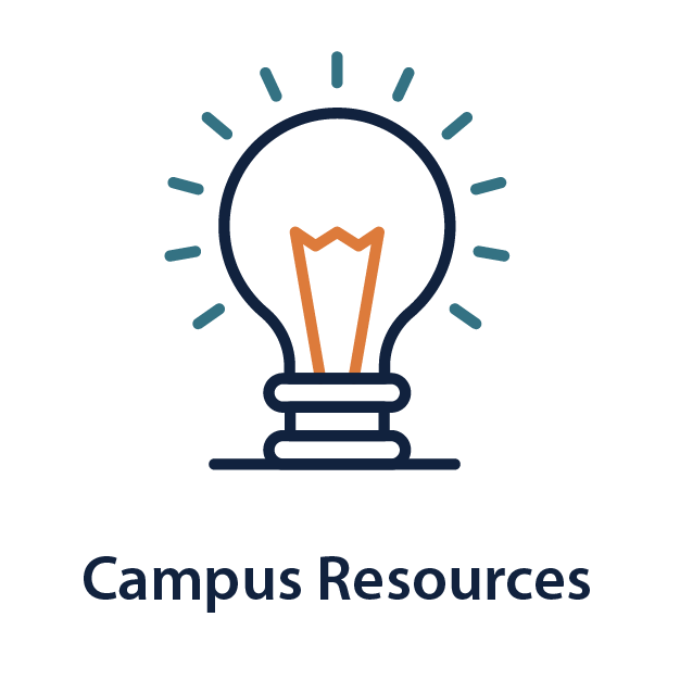 """Illustration of light bulb   """"Campus Resources"""""""