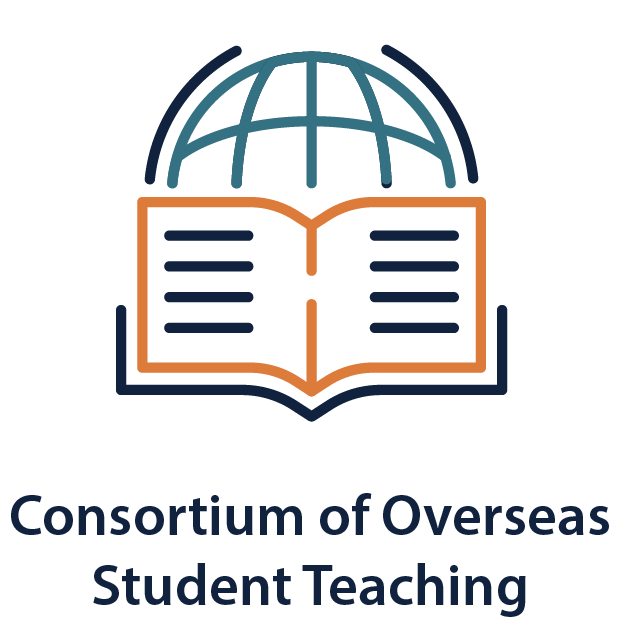 """Illustration of globe and book   """"Consortium of Overseas Student Teaching"""""""