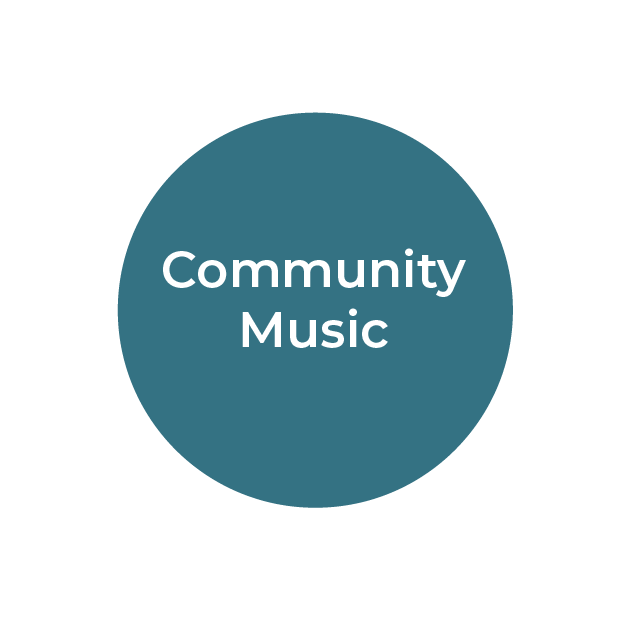 """""""Community Music"""" White text on teal circle"""