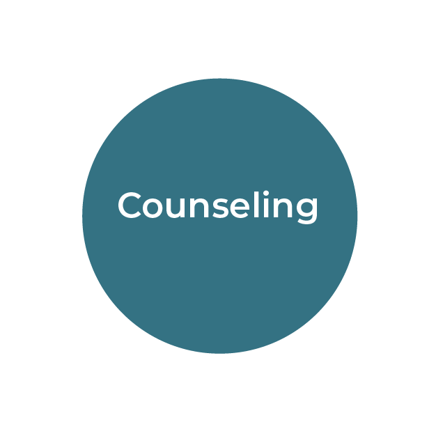 """""""Counseling"""" white text on teal circle"""