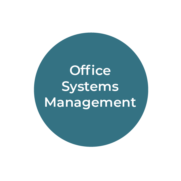 """""""Office Systems Management"""" white text on teal circle"""