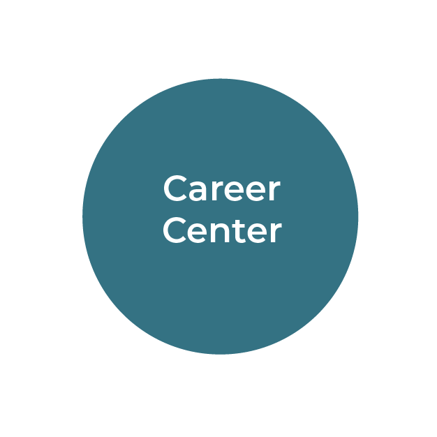 """""""Career Center"""" white text on teal circle"""