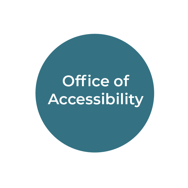 """""""Office of Accessibility"""" white text on teal circle"""
