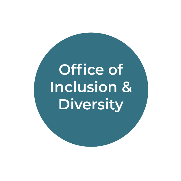 """""""Office of Inclusion & Diversity"""" white text on teal circle"""