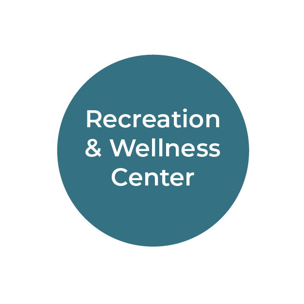 """""""Recreation and Wellness Center"""" white text on teal circle"""