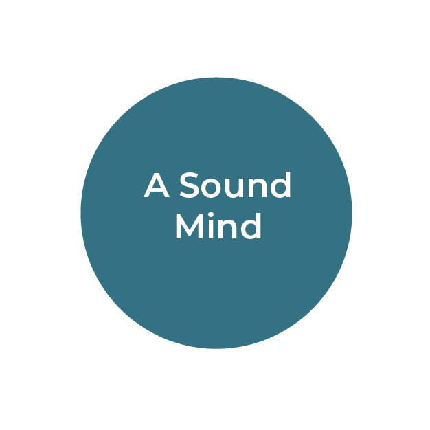 """""""A Sound Mind"""" white text on teal circle"""
