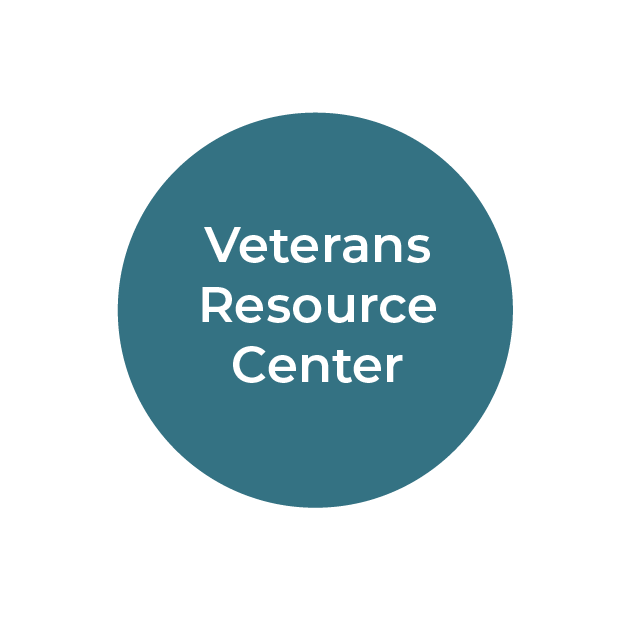 """""""Veterans Resource Center"""" white text on teal circle"""