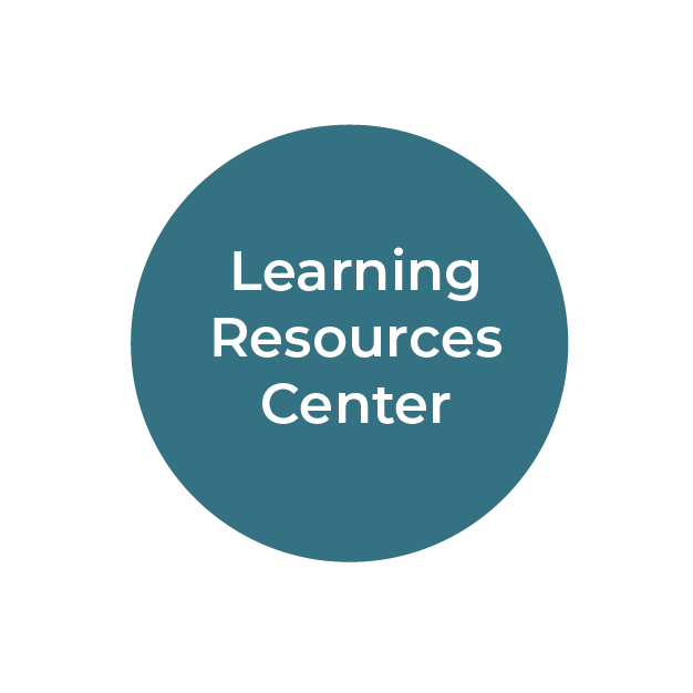 """""""Learning Resources Center"""" white text on teal circle"""