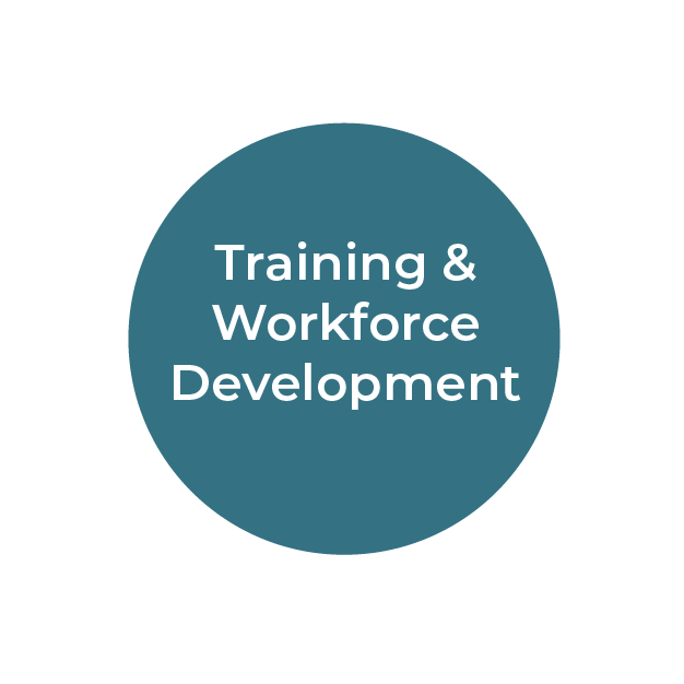 """""""Training and Workforce Development"""" white text on teal circle"""