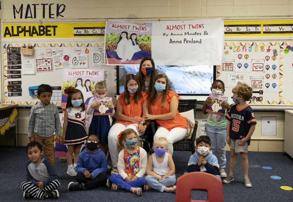 Anna Penland and Anna Moates at book reading in classroom